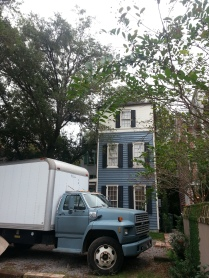 Our rig outside a traditional Charleston home.