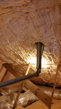 Open cell foam in attic.